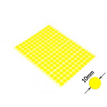 Round colored signaling stickers  unprinted 10 mm yellow