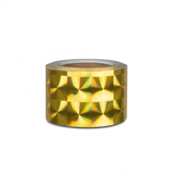 Hologram self-adhesive tape 100 mm, motive squares gold