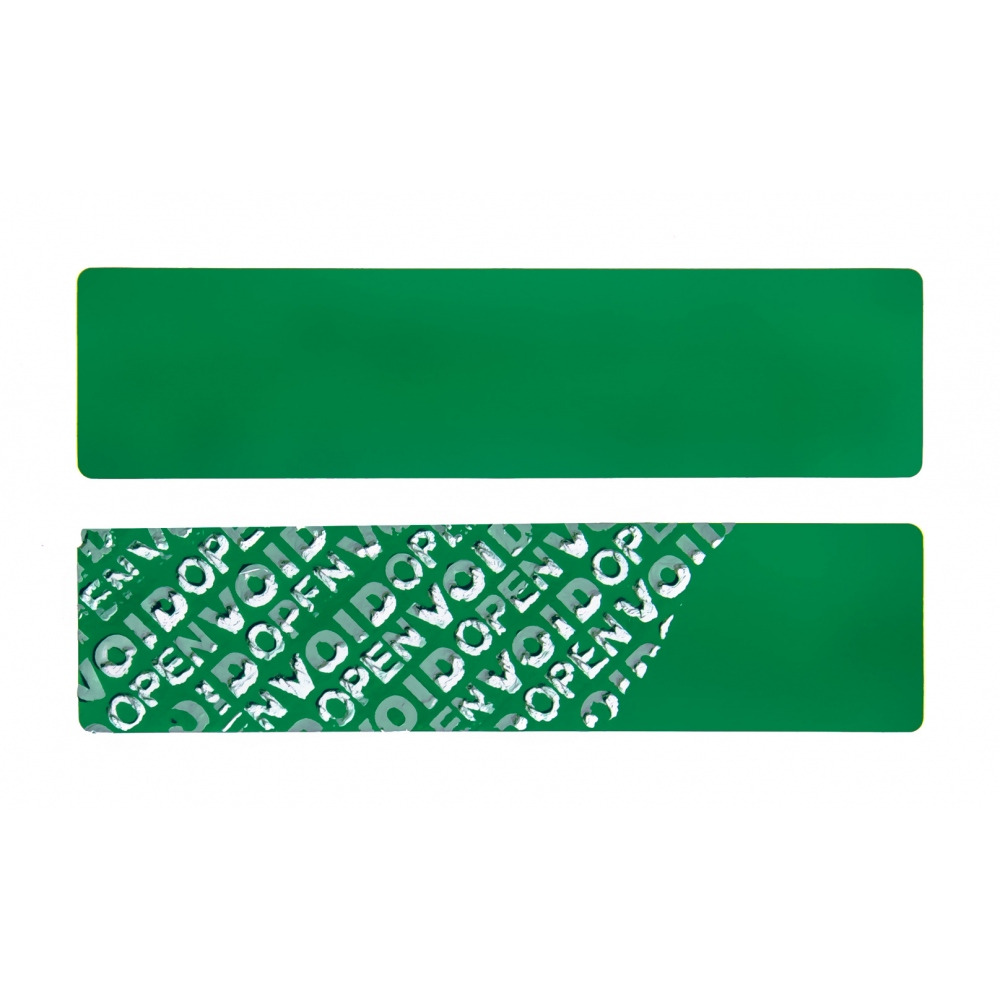 Green non-residual rectangular VOID sticker with high adhesion 100x25mm