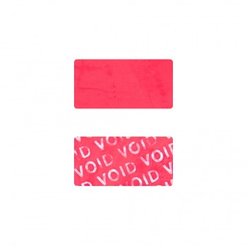 No Residue rectangular VOID sticker for cell phones camera, 20x10mms red