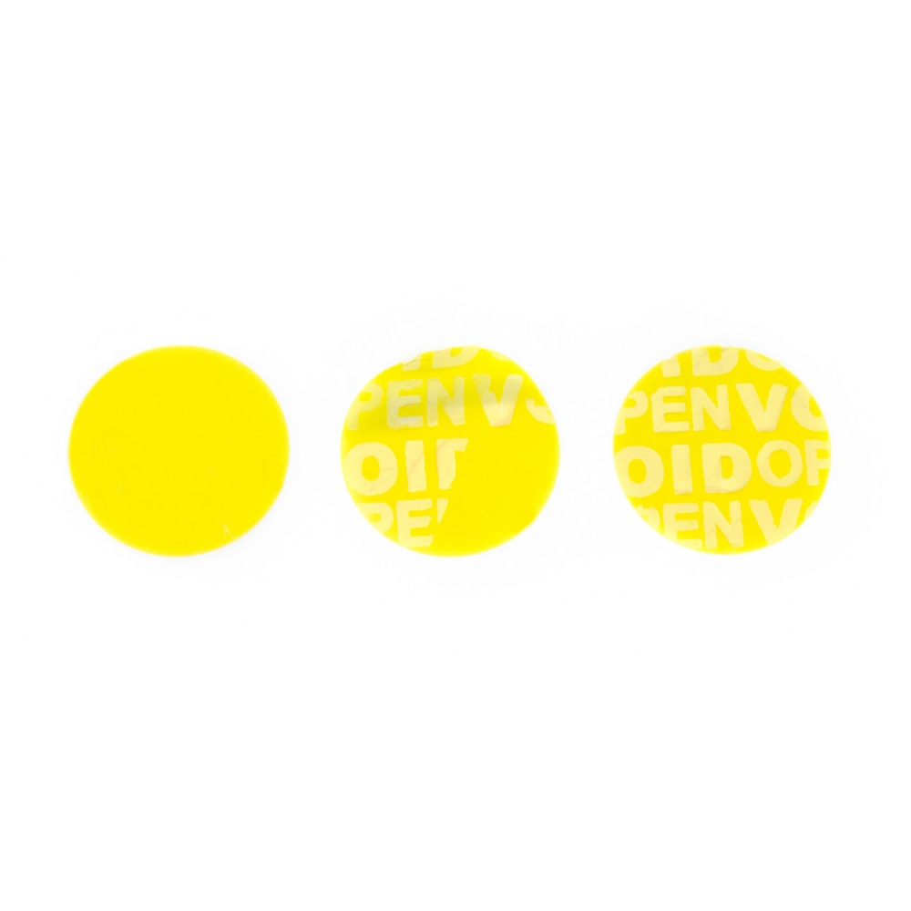 Non-residual yellow circular VOID sticker with high adhesion 20mm