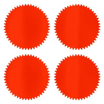 Round sticker with indented edges - red