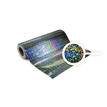 Universal holographic self-adhesive foil on meters - silver casters