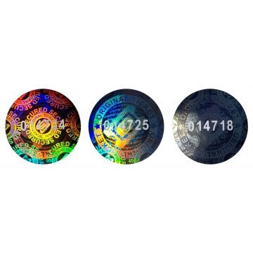 Numbered hologram stickers for tickets and passes, round design, 20 mm
