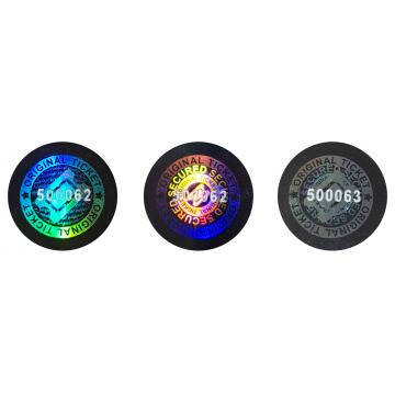 Numbered hologram stickers for ticket, passes and wristbands, round design, 13 mm
