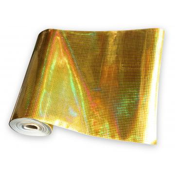 Universal holographic adhesive foil on meters - small squares gold