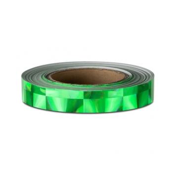 Hologram self-adhesive tape for Hoola Hoop 25 mm, motive squares green
