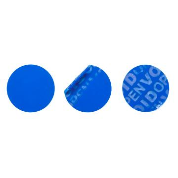 Non-residual blue circular VOID sticker with high adhesion