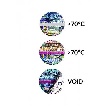 Guarantee hologram VOID self-adhesive sticker with temperature over-detection and numbering – circular