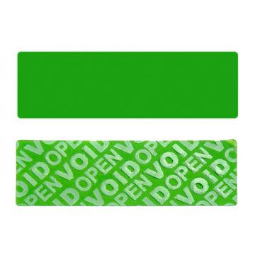 Green non-residual rectangular VOID sticker with high adhesion