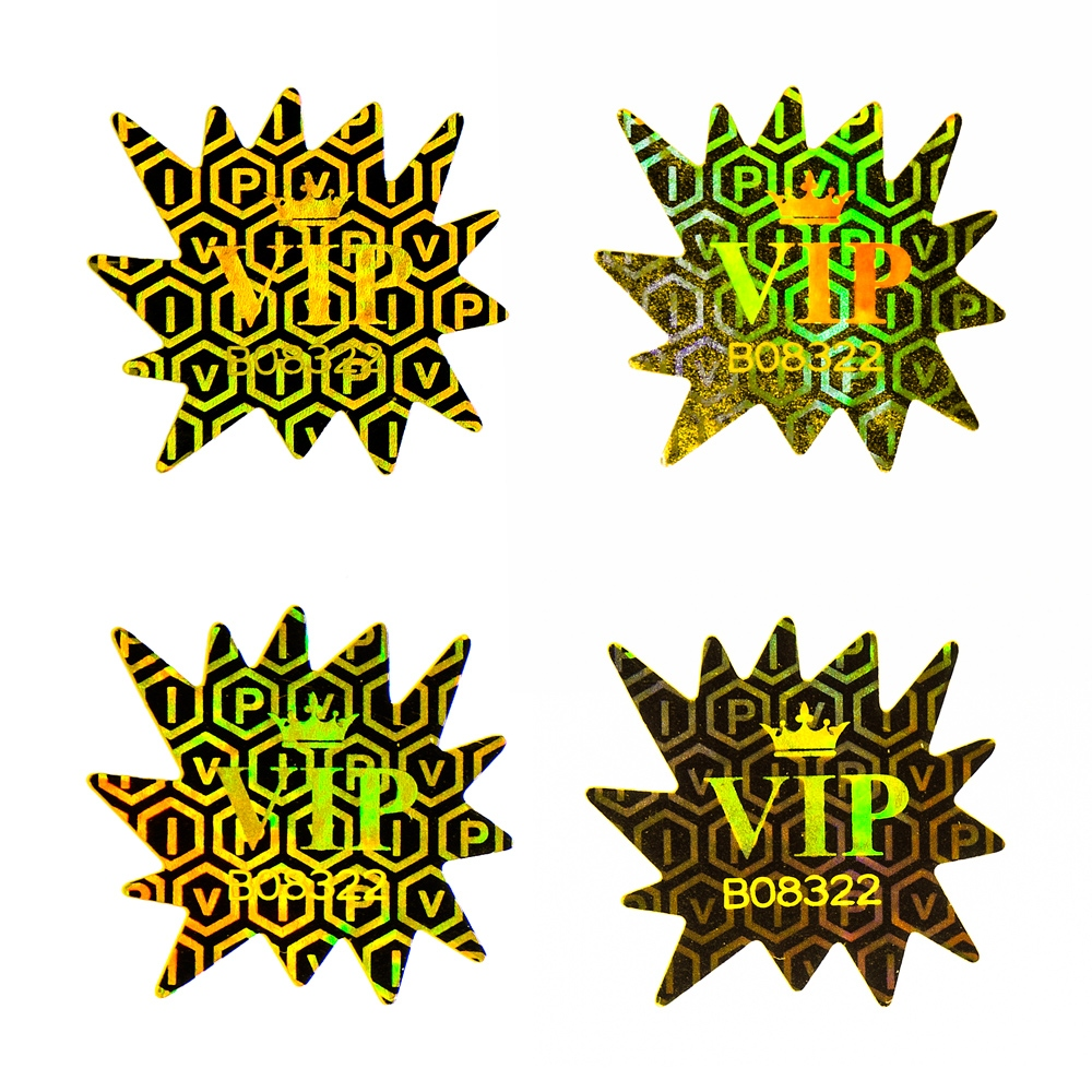 Two-layered numbered VIP Hologram security sticker - gold