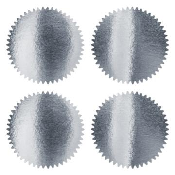 Round sticker with indented edges - silver