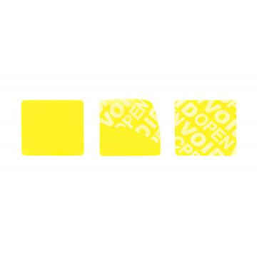 Non-residual yellow square VOID sticker with high adhesion 20x20mm