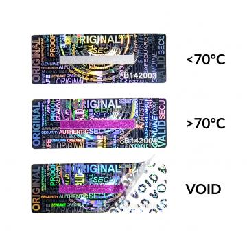 Mastered numbered hologram tamper evident sticker with temperature detection strip