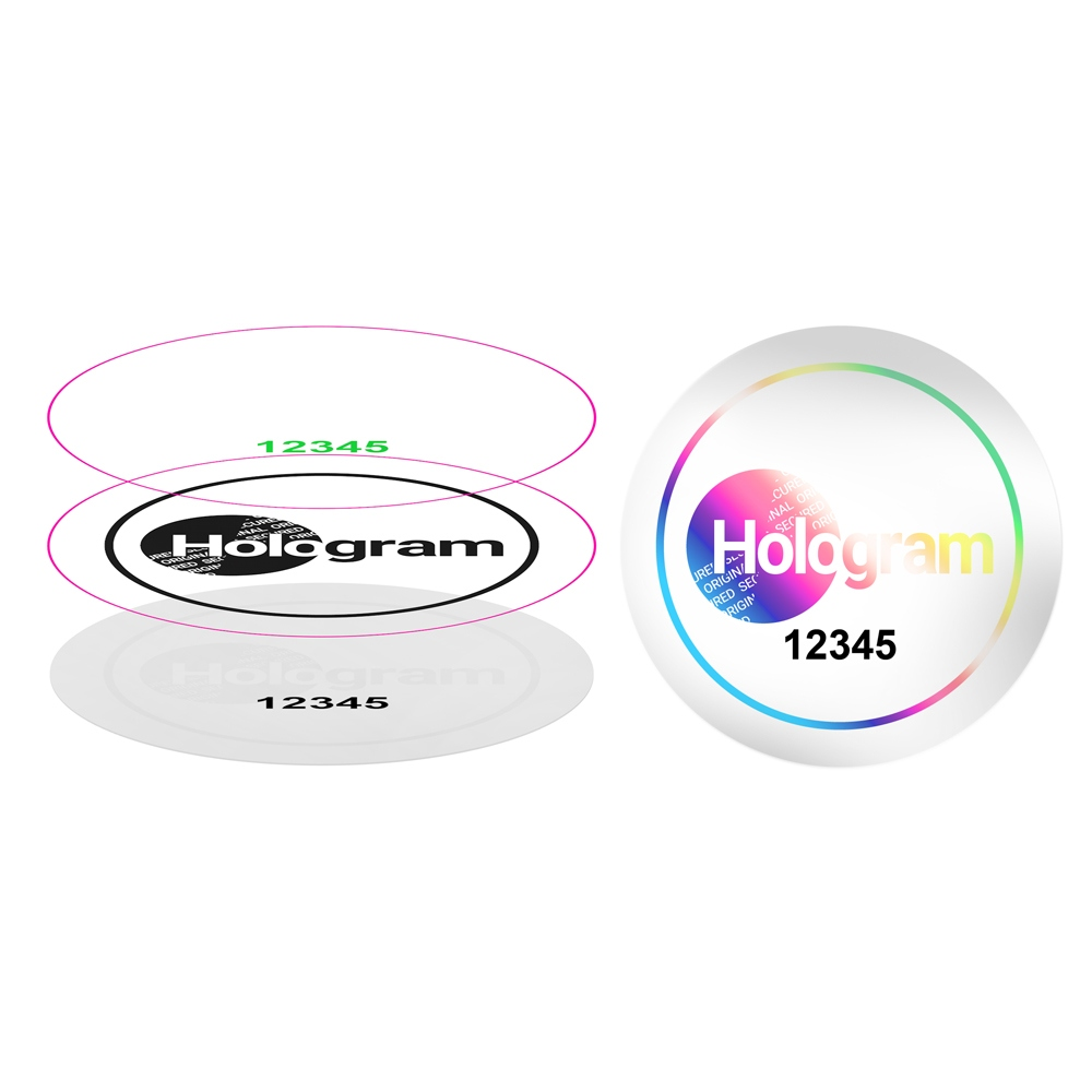 Transparent single layer hologram with custom design