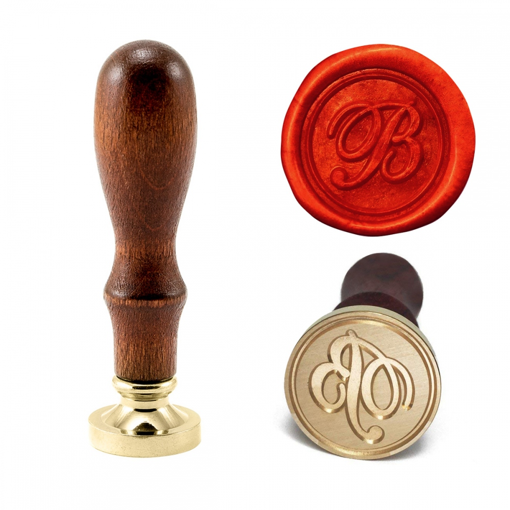 Wax seal stamp with letters of the alphabet - handwritten script A