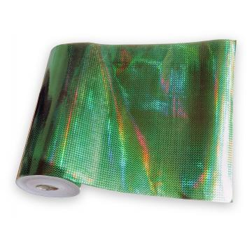 Universal holographic adhesive foil on meters - small squares green