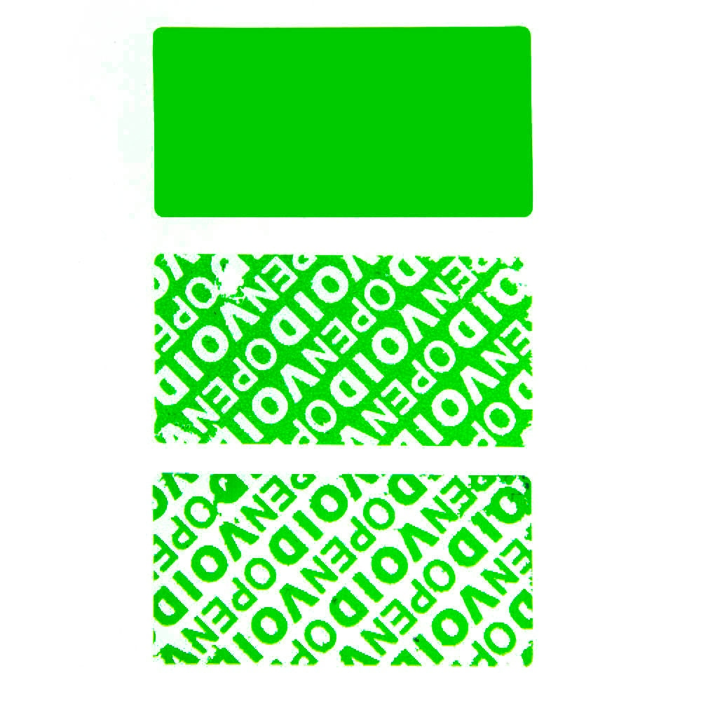 Residual security sticker, green, 50 x 25 mm