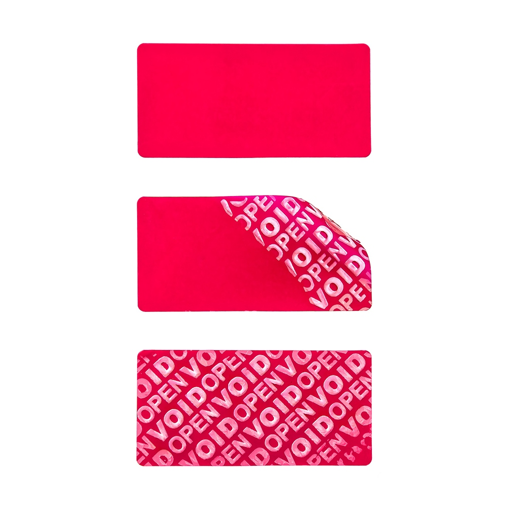 Non-residual red VOID sticker 60x30mm with high adhesion