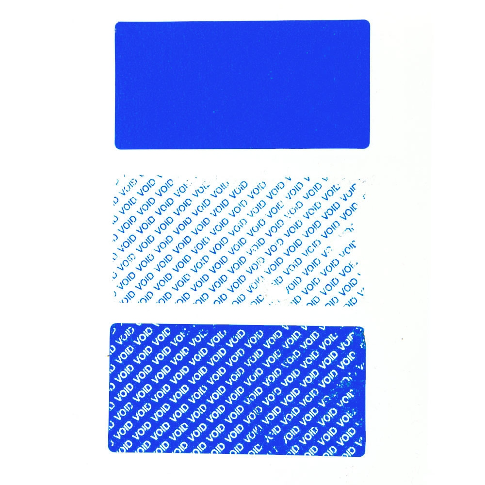 Residual security sticker, blue, 50 x 25 mm
