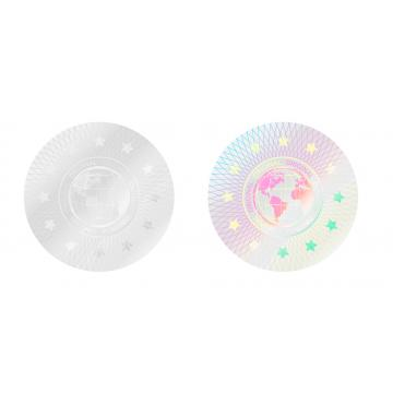 Original transparent hologram sticker, motive of a globe, 20 mm