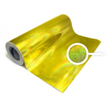 Universal holographic self-adhesive foil on meters - motive gold dots