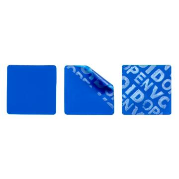 Non-residual blue square VOID sticker with high adhesion