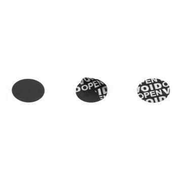 Non-residual black circular VOID sticker with high adhesion 20mm