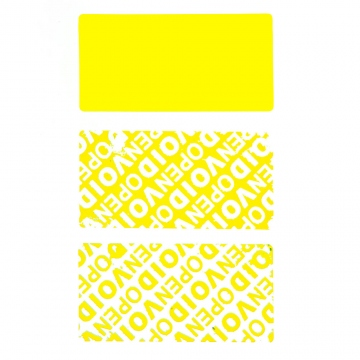 Residual security sticker, yellow, 50 x 25 mm
