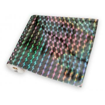 Universal holographic adhesive foil on meters - squares silver