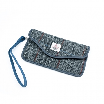 Tweed case for mobile phone, papers and car key with RFID protection