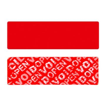 Red non-residual rectangular VOID sticker with high adhesion