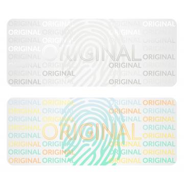 Transparent hologram sticker, original, fingerprint motive, 25 x 10 mm