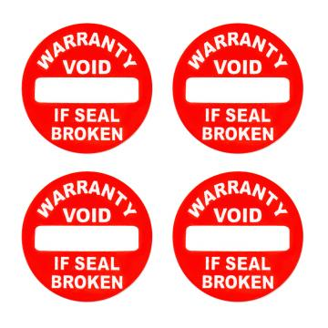 Vinyl warranty sticker Warranty VOID if seal broken red d20mm