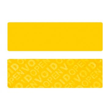 Yellow non-residual rectangular VOID sticker with high adhesion